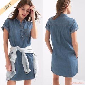 [GAP] Blue Denim Popover Shirt Dress